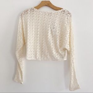 🆕Zara | Cream Crochet Long-Sleeve Crop Top Small